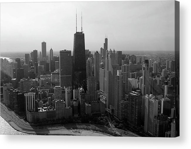 Black And White Acrylic Print featuring the photograph Chicago Looking South 01 Black And White by Thomas Woolworth