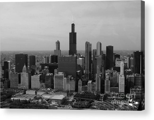 Black And White Acrylic Print featuring the photograph Chicago Looking West 01 Black And White by Thomas Woolworth