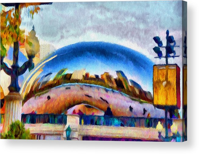 Bean Acrylic Print featuring the painting Chicago Reflected by Jeff Kolker