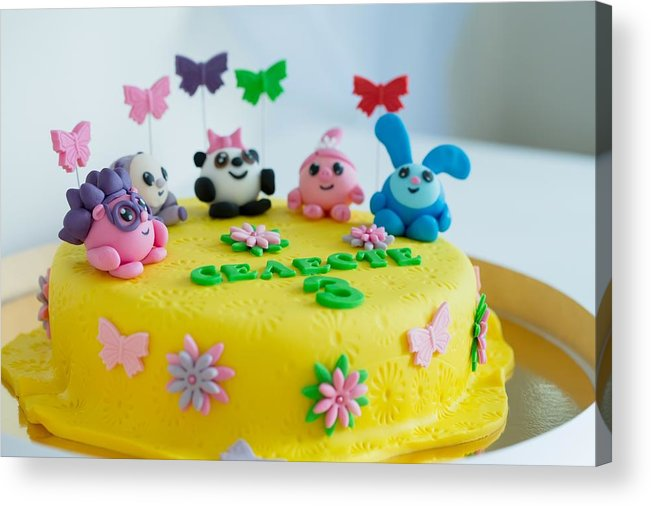 Toddler Acrylic Print Featuring The Photograph Child Colorful Birthday Cake Decorated With Little Cartoon Characters On