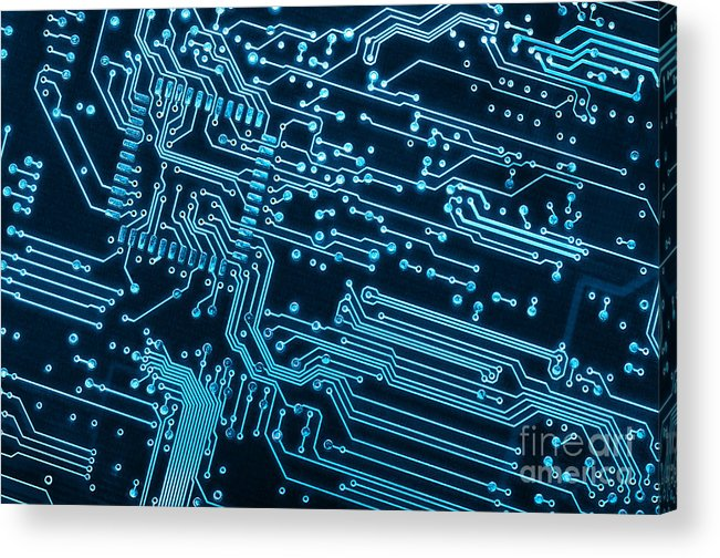 Abstract Acrylic Print featuring the photograph Circuit Board by Carlos Caetano