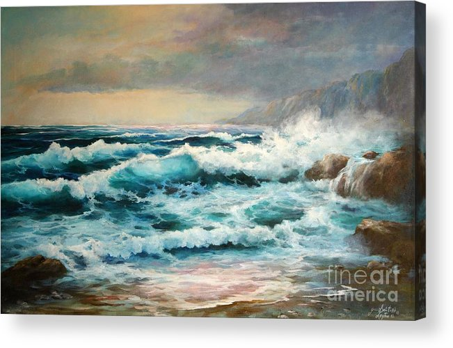 Seascape Acrylic Print featuring the painting Clear Aqua Waters by Gail Salitui
