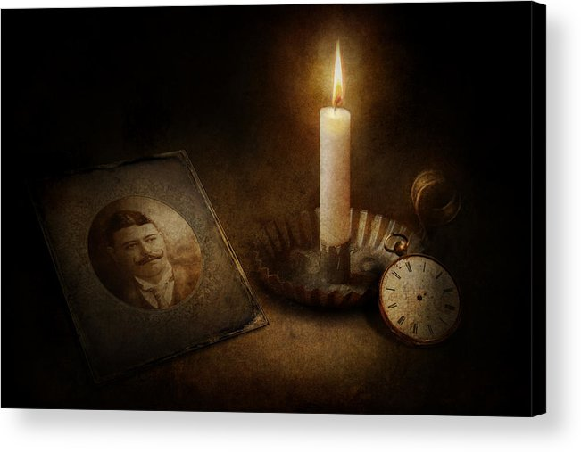 Hdr Acrylic Print featuring the photograph Clock - Memories Eternal by Mike Savad