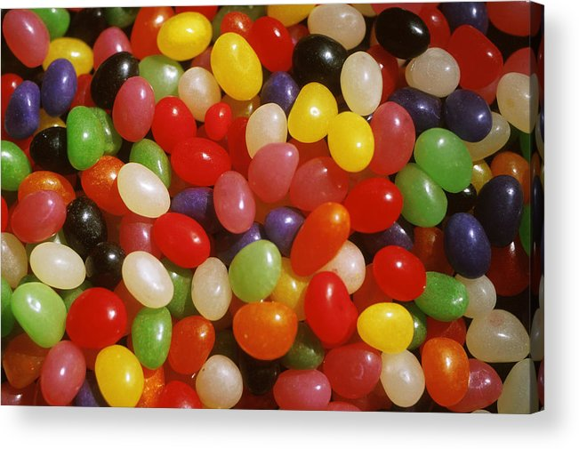 Close-up; Full Frame; Differential Focus; Backgrounds; Abundance; Simplicity; Jelly Beans; Colorful; Heap; Shiny; Sweet Food; Sweets; Candies Acrylic Print featuring the photograph Close Up Of Jelly Beans by Anonymous