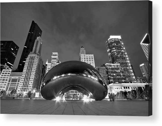 3scape Acrylic Print featuring the photograph Cloud Gate And Skyline by Adam Romanowicz