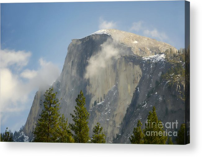 Half Dome Acrylic Print featuring the photograph Clouds Around Half Dome by Jim And Emily Bush
