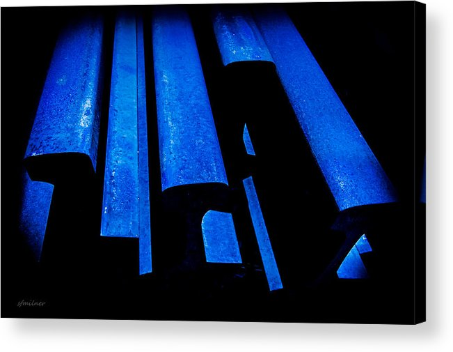 Abstracts Acrylic Print featuring the photograph Cold Blue Steel by Steven Milner
