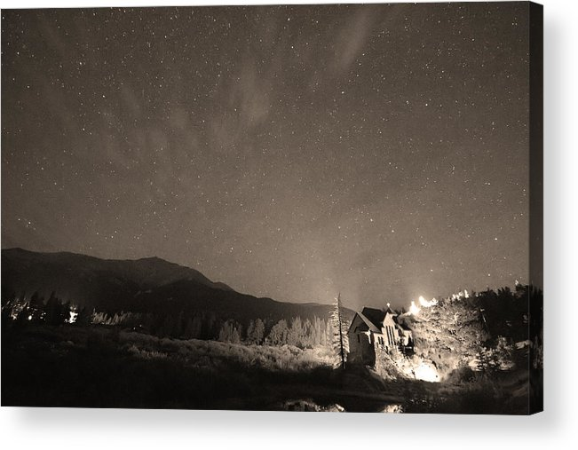 Chapel On The Rock Acrylic Print featuring the photograph Colorado Chapel On The Rock Dreamy Night Sepia Sky by James BO Insogna