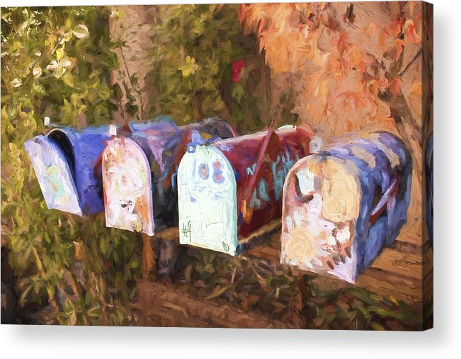 Mail Boxes Acrylic Print featuring the photograph Colorful Mailboxes Santa Fe Painterly Effect by Carol Leigh