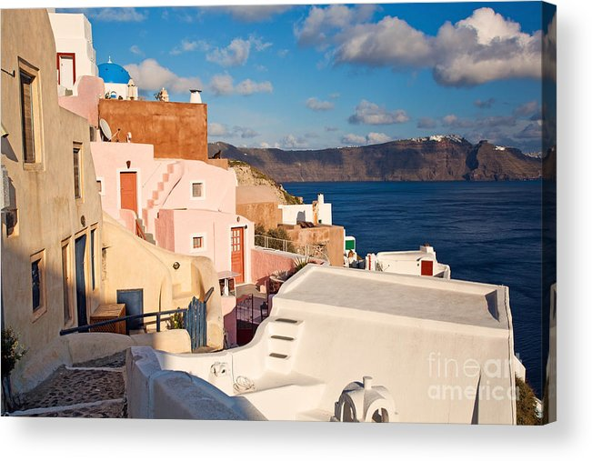 Santorini Acrylic Print featuring the photograph Colorful Residential Town by Aiolos Greek Collections