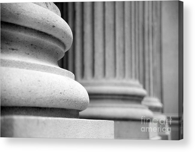 Black & White Acrylic Print featuring the photograph Columns by Tony Cordoza