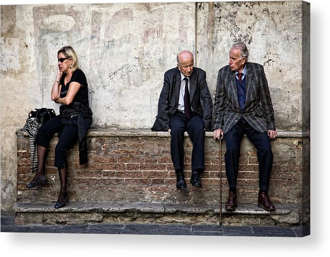Street Photography Acrylic Print featuring the photograph Communication by Dave Bowman