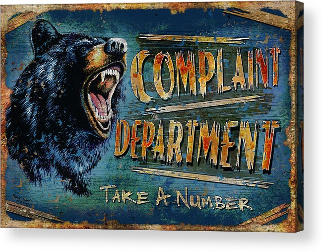 Robert Schmidt Acrylic Print featuring the painting Complaint Department by JQ Licensing