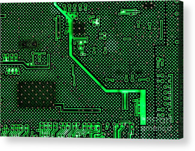 Computer Acrylic Print featuring the photograph Computer Circuit Board by Olivier Le Queinec