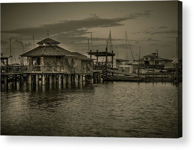 B&w Acrylic Print featuring the photograph Conch House Marina by Mario Celzner