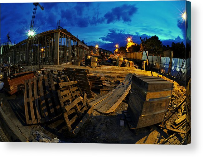 Apartment Acrylic Print featuring the photograph Construction Site At Night by Jaroslaw Grudzinski