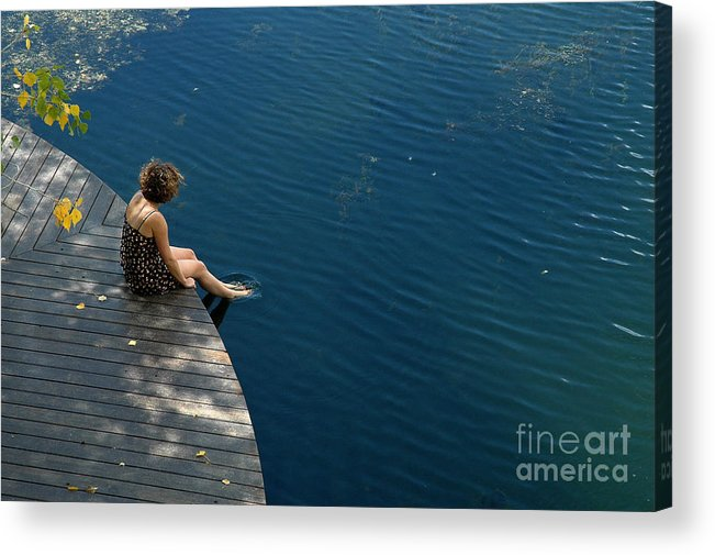 Woman. Portrait. Lake. Blue Lake Ranch Acrylic Print featuring the photograph Contemplative by Tina Osterhoudt