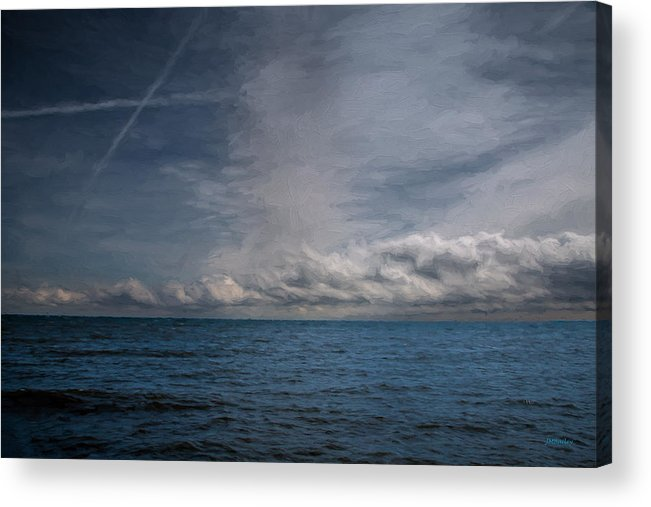 Landscape Acrylic Print featuring the photograph Contrails And Rainclouds Over Lake Michigan by John M Bailey