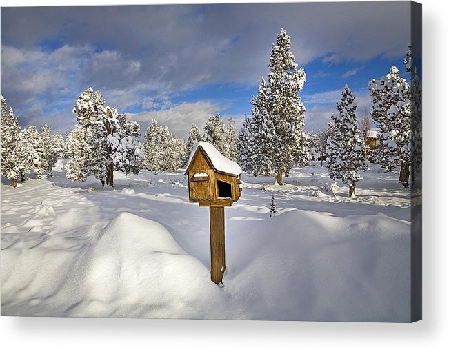Snowy; Snow-packed; Slick; Wet; Stormy; Rural; Country; Farm; Farm To Market; Road; Highway; Street; Central; Oregon; Bend; Cascade; Mountains; Juniper; Fir; Pine; Evergreen; Forest; Tree; Trees; Winter; Wintery; Snow Drift; Shovel; Shoveling; Snow; Atv; All Terrain Vehicle; Snow Plow; Senior Citizen; Elderly; Seniors; Ouside; Activity; Exercise; Rural; Country; Mail; Box; Mailbox Acrylic Print featuring the photograph Country Mailbox by Buddy Mays