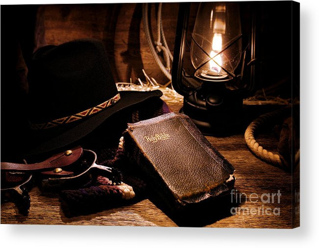 Western Acrylic Print featuring the photograph Cowboy Bible by Olivier Le Queinec