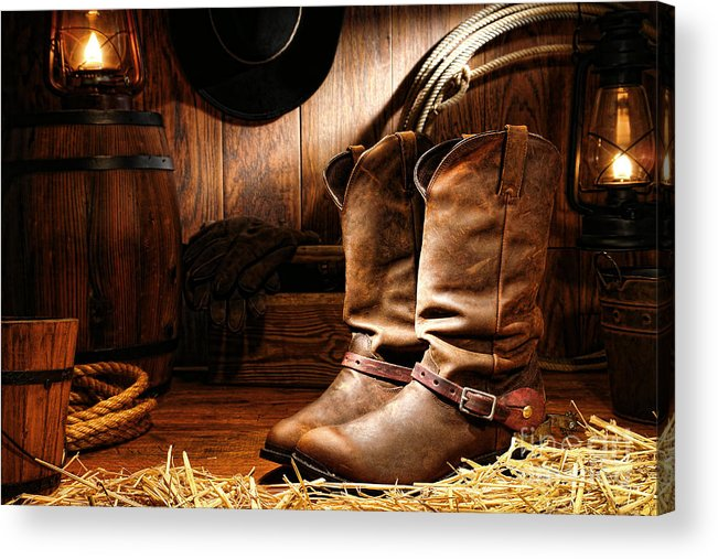 Western Acrylic Print featuring the photograph Cowboy Boots In A Ranch Barn by Olivier Le Queinec
