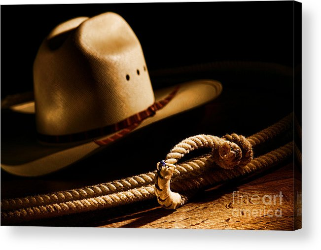 Western Acrylic Print featuring the photograph Cowboy Hat And Lasso by Olivier Le Queinec