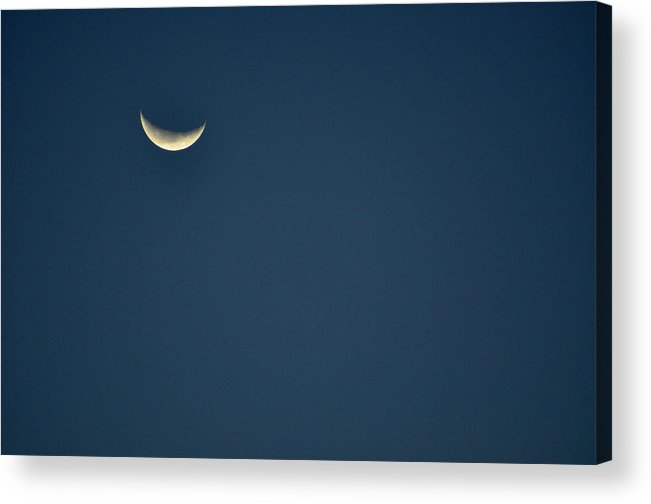 Color Acrylic Print featuring the photograph Crescent Moon With Blue Sky Usa by Sally Rockefeller