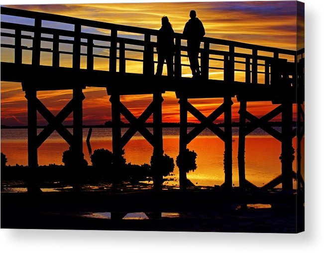 Pier Acrylic Print featuring the photograph Crystal Beach Pier At Sunset II by Daniel Woodrum