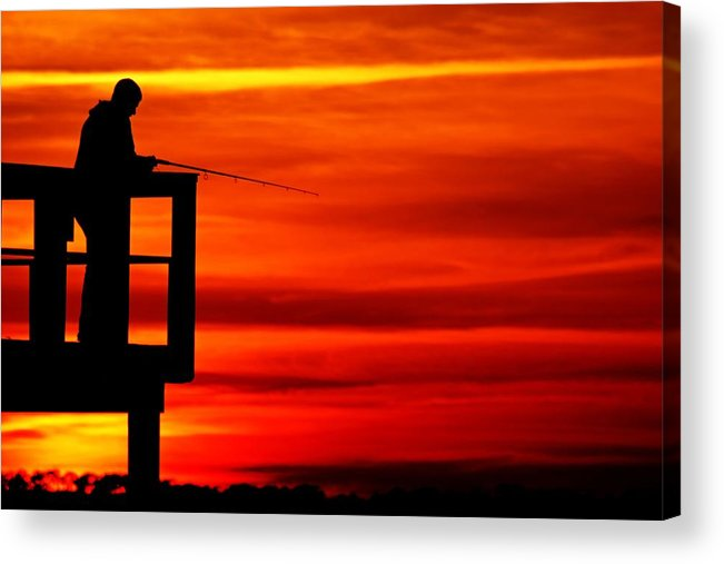 Pier Acrylic Print featuring the photograph Crystal Beach Pier At Sunset IIi by Daniel Woodrum