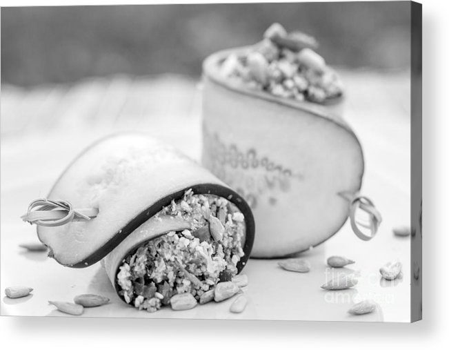 Iris Holzer Richardson Acrylic Print featuring the photograph Cucumber Rolls Black And White by Iris Richardson