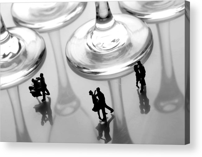 Black And White Acrylic Print featuring the painting Dancing Among Glass Cups by Paul Ge