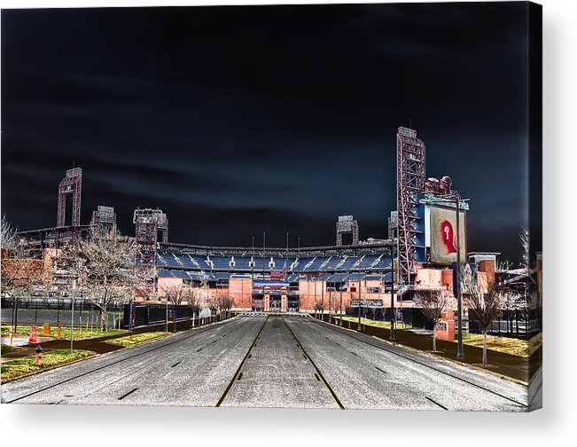 Dark Acrylic Print featuring the photograph Dark Skies At Citizens Bank Park by Bill Cannon