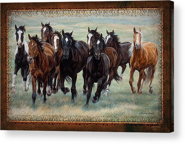 Michelle Grant Acrylic Print featuring the painting Deco Horses by JQ Licensing