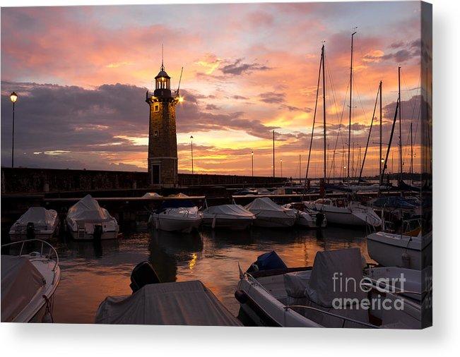 Sun Acrylic Print featuring the photograph Desenzano Del Garda Marina Old Lighthouse Sunrise by Kiril Stanchev