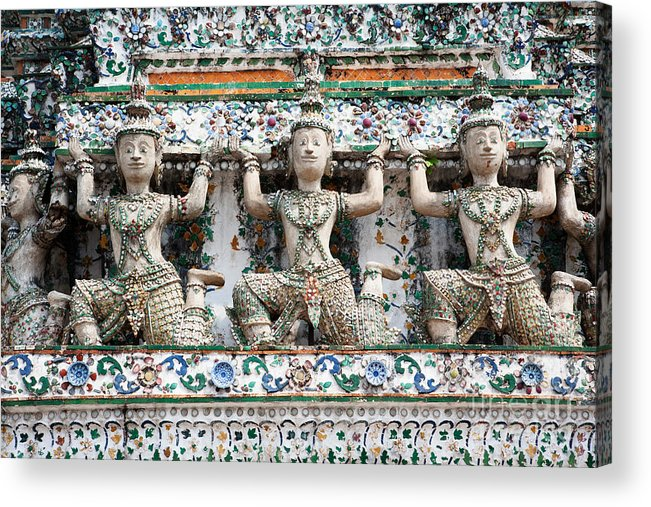 Asia Acrylic Print featuring the photograph Detail Of Temple, Thailand by David Davis