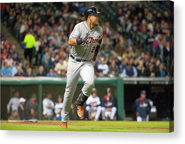 American League Baseball Acrylic Print featuring the photograph Detroit Tigers V Cleveland Indians by Jason Miller