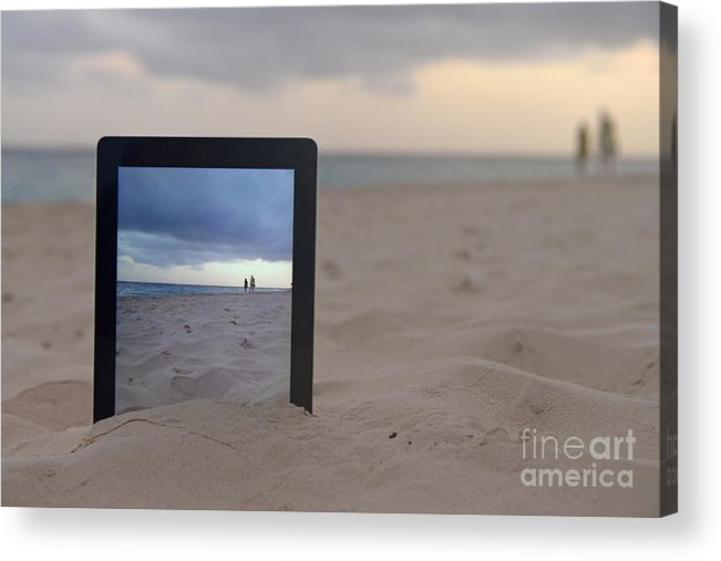 People Acrylic Print featuring the photograph Digital Tablet In Sand On Beach by Sami Sarkis