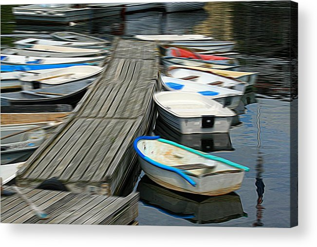 Dinghies Acrylic Print featuring the digital art Dinghies by John Delong
