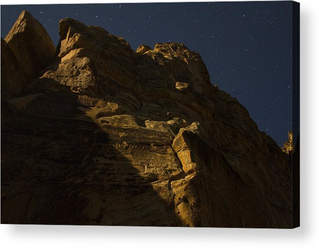 Moonlight Acrylic Print featuring the photograph Dinosaur Cliffs In Moonlight by Phil Johnston