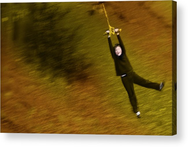 Boy On A Swing Photographs Acrylic Print featuring the photograph Do Not Let Go by David Davies