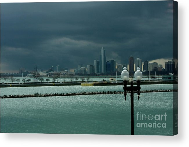 Navy Pier Acrylic Print featuring the photograph Dramatic Thunderstorm Over Navy Pier Chicago by Linda Matlow