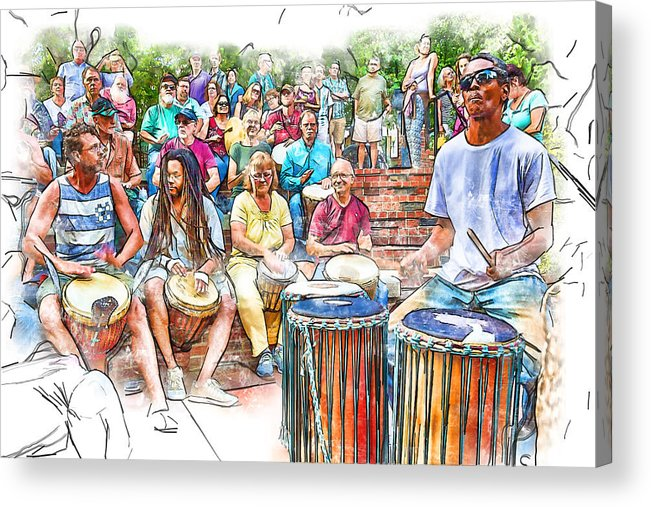 Drum Circle Acrylic Print featuring the photograph Drum Circle Of Friends by John Haldane