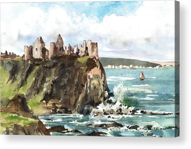 Val Byrne Acrylic Print featuring the painting Dunluce Castle Antrim N I by Val Byrne