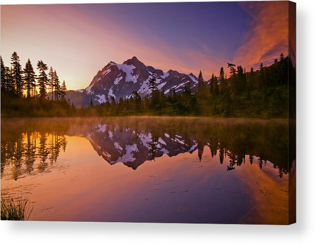 Sunrise Acrylic Print featuring the photograph Early Morning At Picture Lake by Darren White