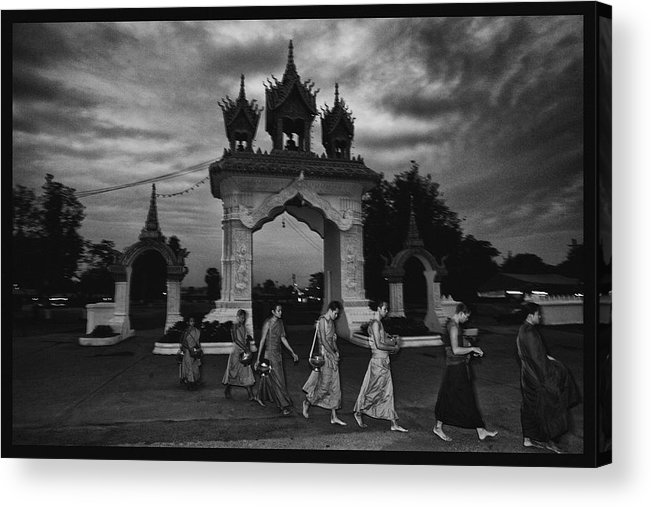 Thailand Acrylic Print featuring the photograph Early Morning Monks by David Longstreath