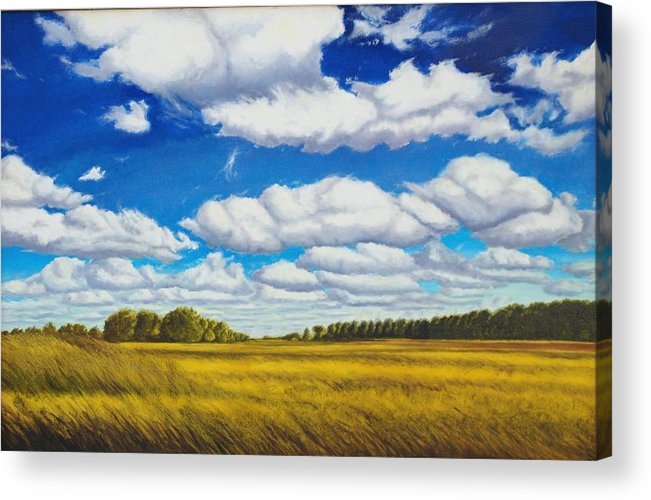 Wheat Acrylic Print featuring the painting Early Summer Clouds by Leonard Heid