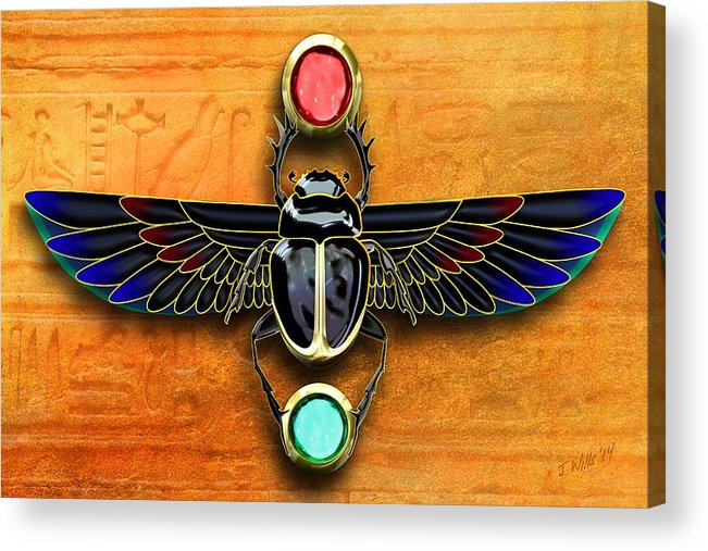 Egyptian Scarab Beetle Acrylic Print By John Wills