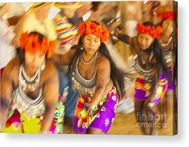 Embera Acrylic Print featuring the photograph Embera Villagers In Panama by David Smith