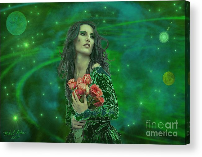 Woman Acrylic Print featuring the digital art Emerald Universe by Michael Rucker