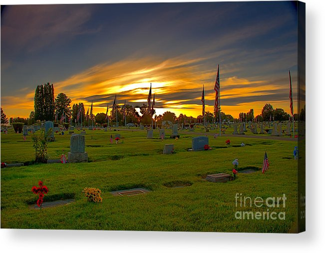 Gem County Acrylic Print featuring the photograph Emmett Cemetery by Robert Bales